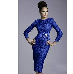 Tre quatres manica viola grigio blu royal 2018 hot formale più il formato Sirena/Tromba madre della Sposa Abiti per la Cerimonia Nuziale(China)