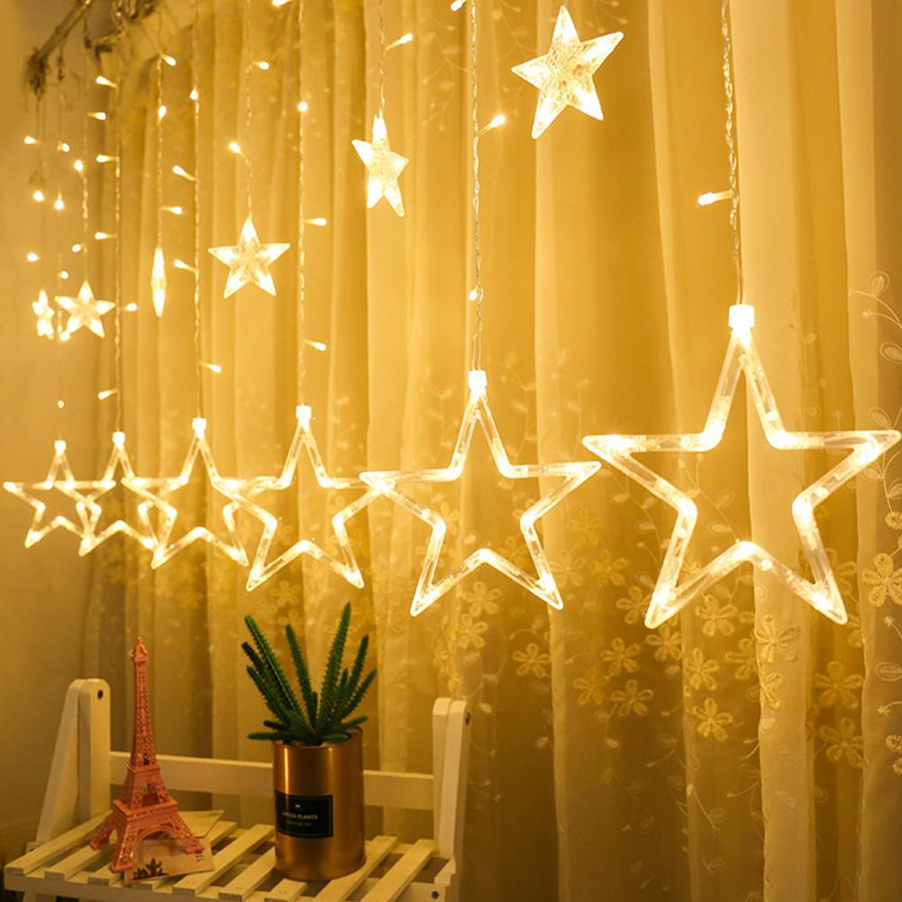 LumiParty 138LEDs Star Fairy Lights Christmas Star String Light Garland LED Curtain For Wedding Home Party Birthday Decor Lights