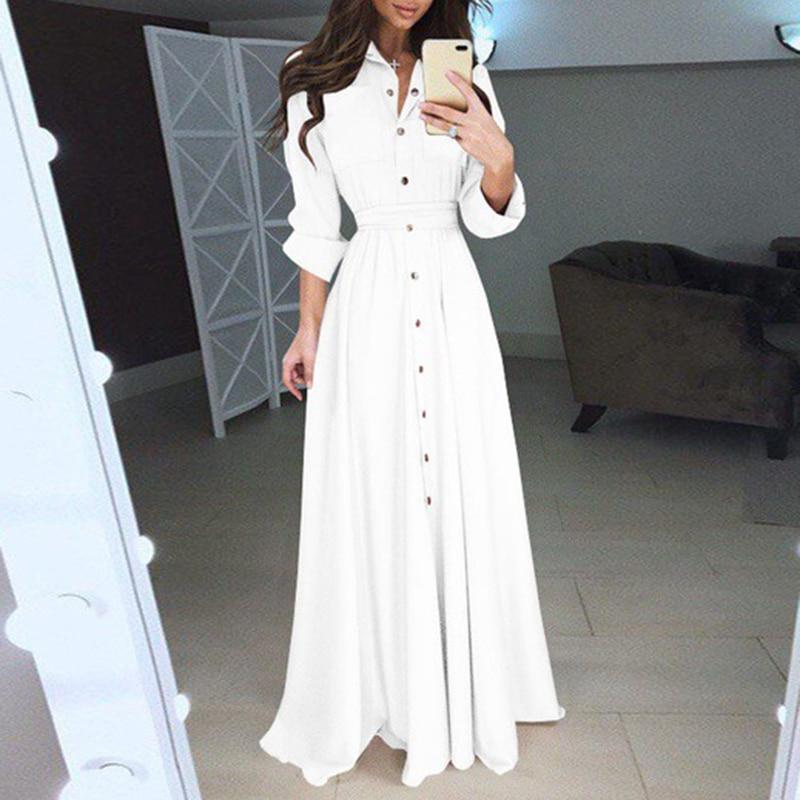 b937c6e76c autumn clothes Women Long Sleeve Evening Formal dresses Party solid color  buttons decor A-line