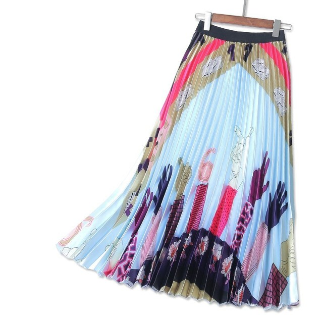 f90d1aa7ebe2ba Jupe plissée femmes jupes élastique taille haute satin jupe mains imprimées  été mode runaway midi