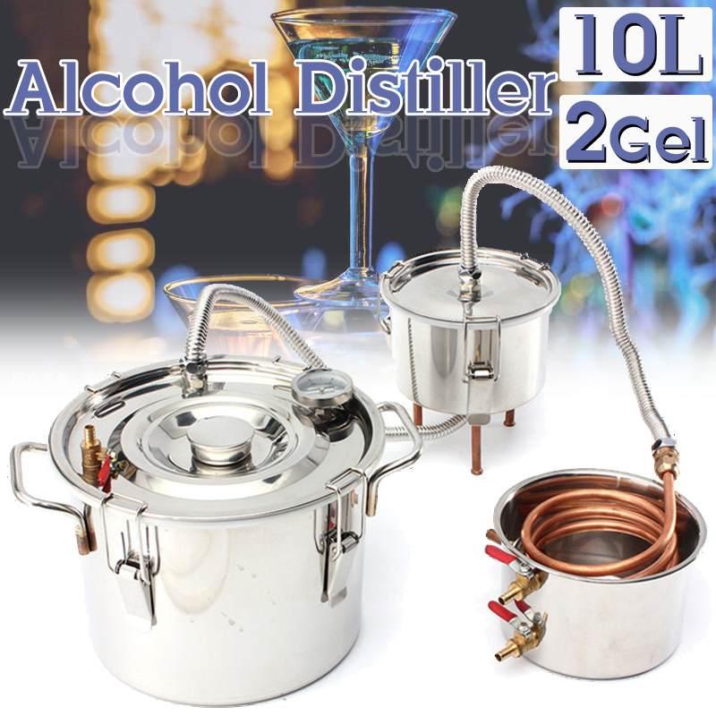 10L DIY destilador Alcohol inoxidable de agua de cobre vino de aceite esencial cerveza Kit + Thumper barril + condensador barril