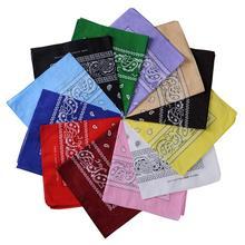 Новинка, модная бандана в стиле хип-хоп из хлопка, квадратный шарф 55 см* 55 см, повязка на голову с принтом пейсли черного и красного цветов для женщин/мужчин/мальчиков/девочек