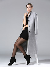 Autumn Winter 2019 Fashion Womens Wool Coat Double Breasted Elegant Bodycon Cocoon Long Tops
