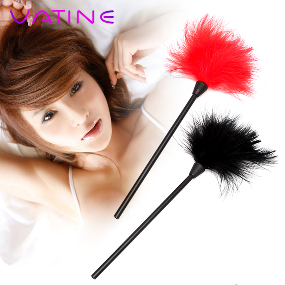 VATINE Erotic Toys Sex Toys For Couple Clitoris Stimulator Adult Games 24cm Flirting Feather SM Bondage Black Spanking Whip