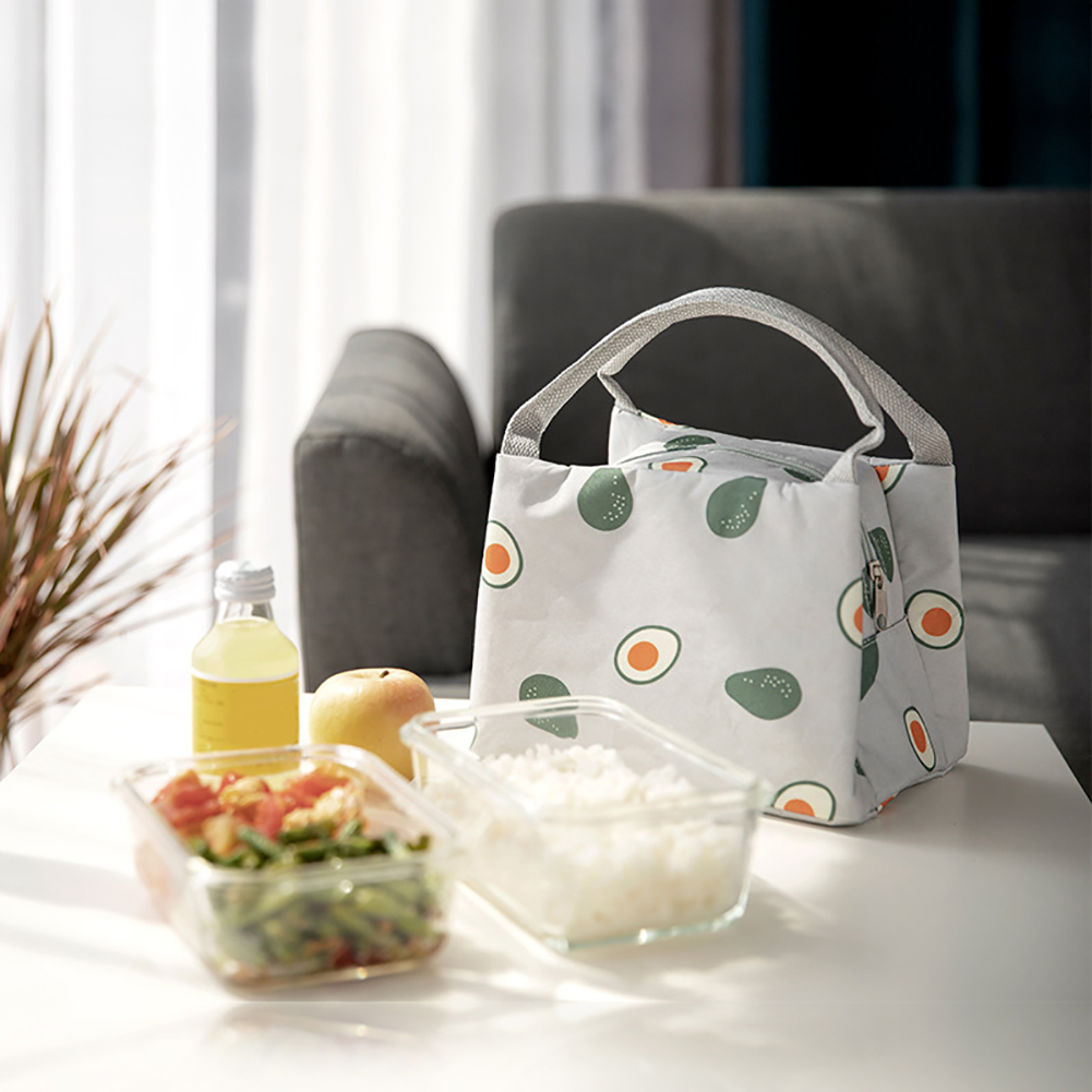 Fashion Fruit Printed Thermal Insulation Office Picnic Food Bento Waterproof Lunch Canvas Tote Bag Insulation Package Portable in Storage Bags from Home Garden
