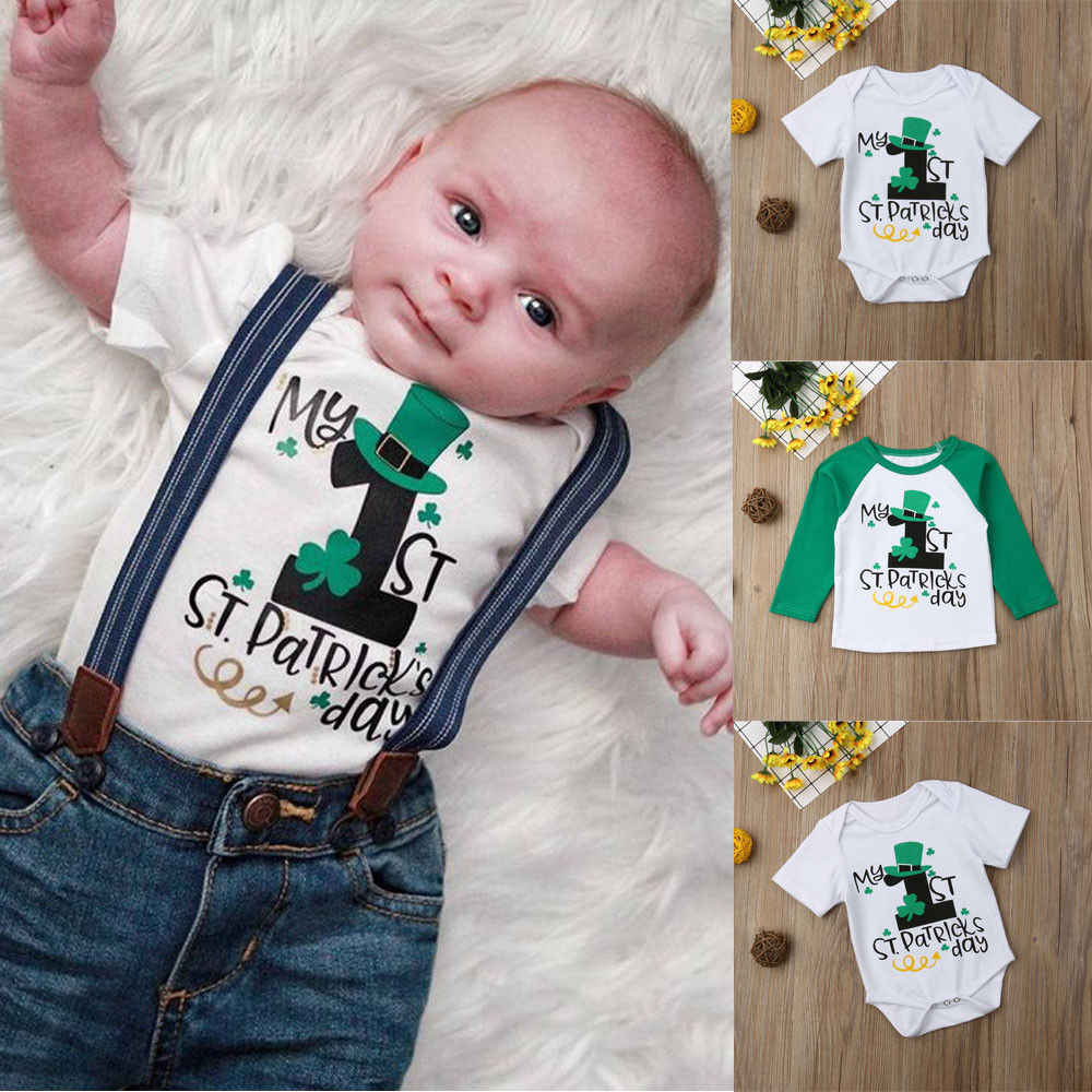 9fd3152e36007 Summer Baby Boys Girls Brother Sister Matching Tops Long Sleeve Romper  Shirts Tee Pullover Green 1st St. Patricks Day Costume