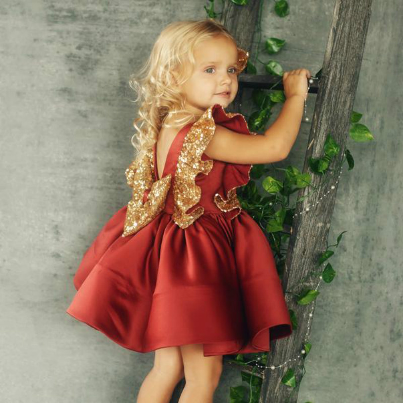 Flower     Girl     Dress   Princess Formal Birthday Pageant Holiday Wedding Bridesmaid Ruffles Green Red Backless Bow   Dress