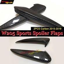 W205 Rear Bumper Spoiler Flaps Air Flow Vent Carbon Fiber 2 Pcs For Benz C180 C200 C250 C300 Rear Splitter Wing Spoiler 2015-in цены онлайн