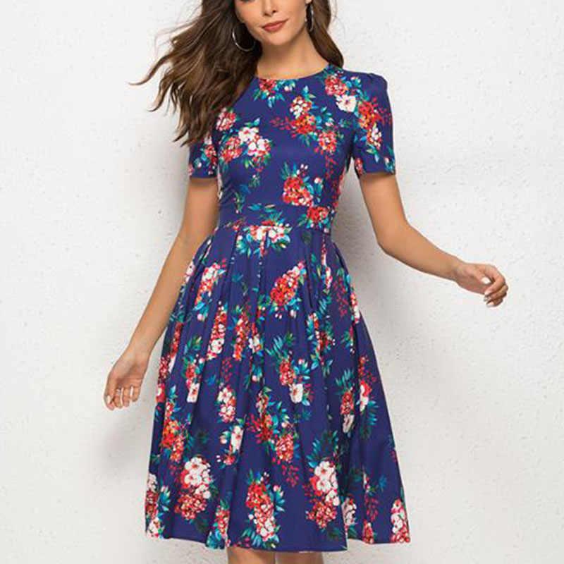 Verano Mujer Floral estampado manga corta plisado Swing vestido A-Line Midi vestidos