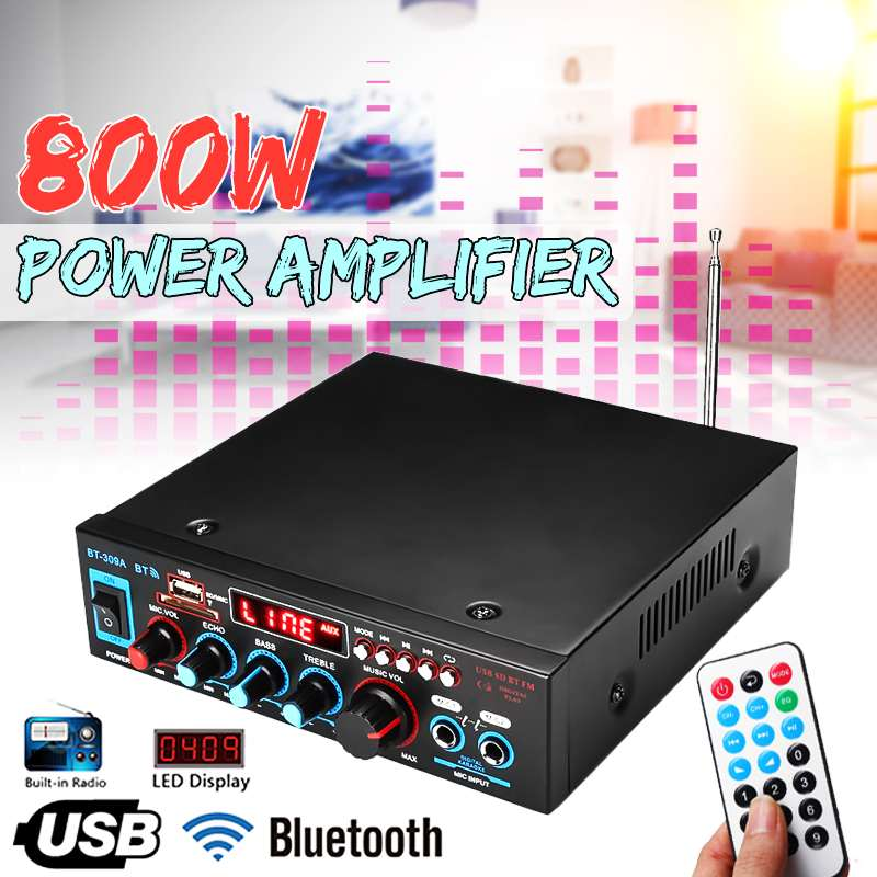 800w bluetooth Amplifier 110V/220V DC 12V AUX input USB SD Home Theater Amplifiers Car Amplifiers Audio Power Amplifier