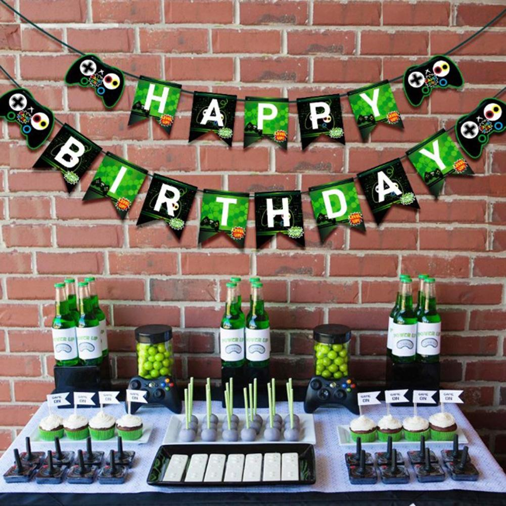 Video Game Happy Birthday Banner, Gaming Party Supplies With Game On & Level Up Pictures, Party Favors Decorations For Boys image