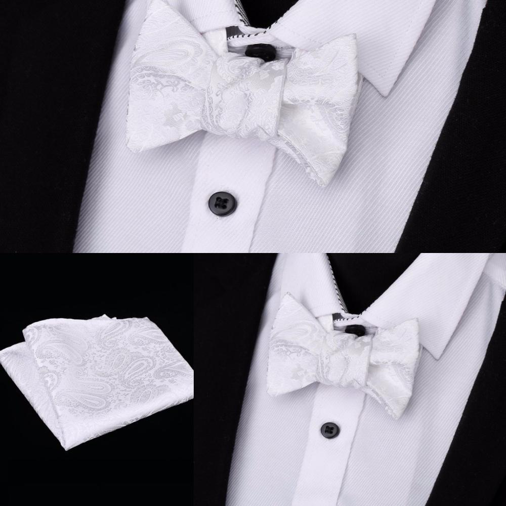 New Fashion Paisley Self Bowtie And Pocket Square Set Gents Pre-tied Bowtie Handkerchief For Wedding Tuexdo Party Cravat Bows