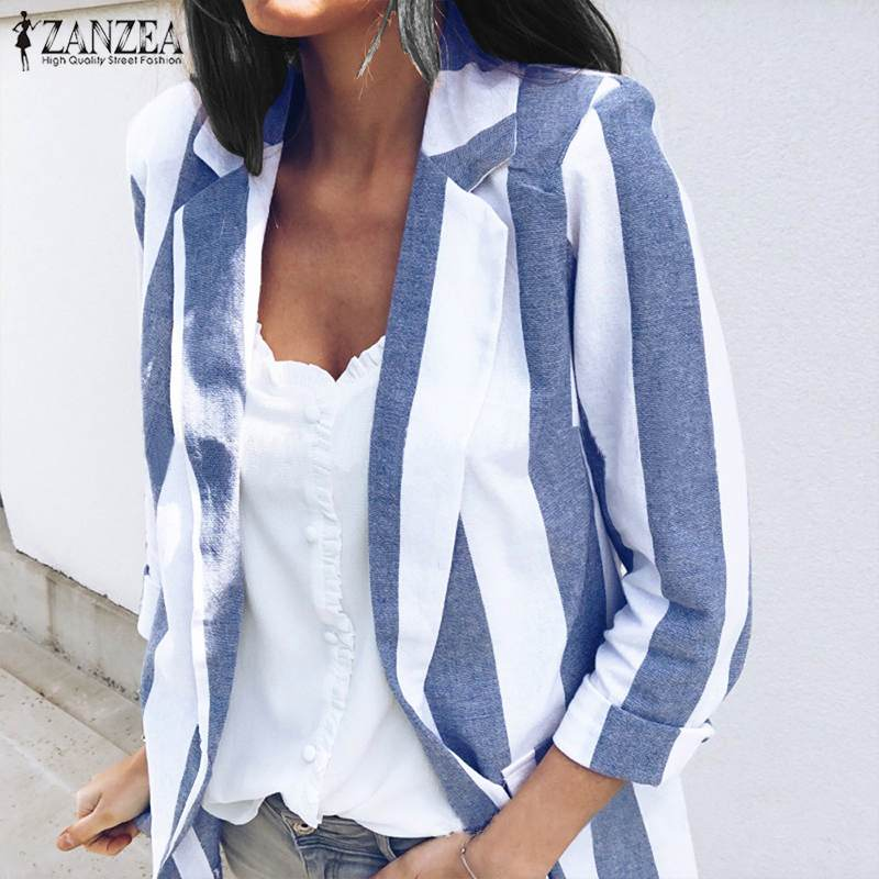 ZANZEA 2019 Spring Women Elegant Striped Blazer Suits Female Business Work Wear Slim Coat Blazers Jackets Autumn Casual Outwear