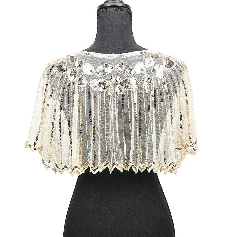 Women 1920s Shawl Poncho Sheer Mesh Shiny Sequined echarpe femme Beading  Scalloped Evening Party Bolero Cape for wedding 2019 689ebb493ad5