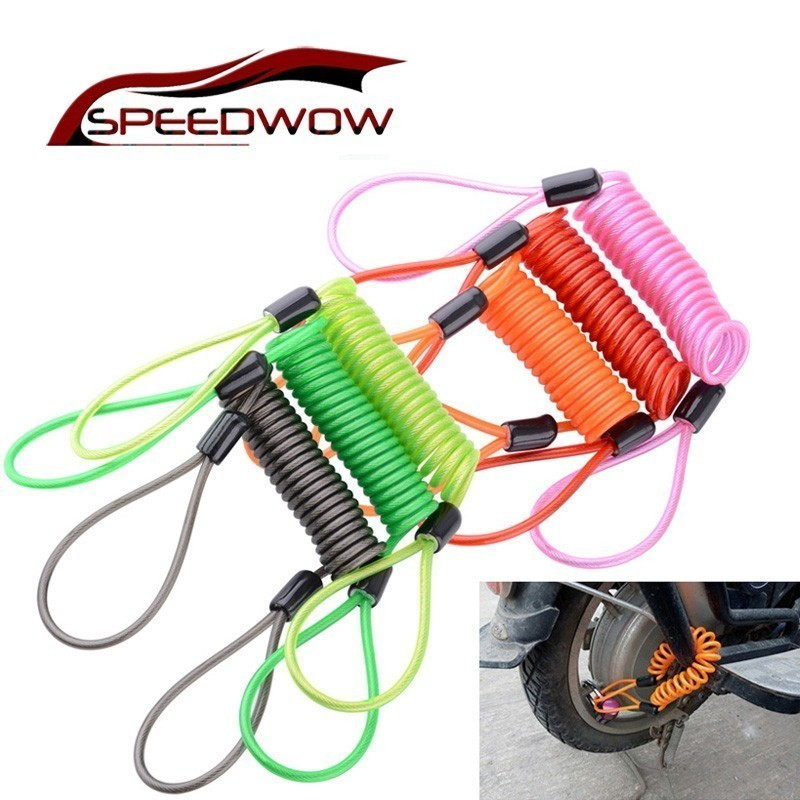 SPEEDWOW Bicycle Brake Disc Lock Scooter Reminder Cable Motorcycle Spring Rope Bag Anti-Theft Cable Protection Alarm Locks 150CM