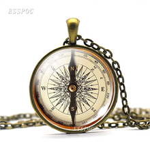 Hot Round Glass Cabochon Jewelry Steampunk Compass Pendant Vintage Picture Necklace Archaeology Tour Jewerly Gift