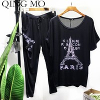 QING MO Printing Suits Women Hot Drilling Suits Summer Black Short Sleeve Suits Women Oversize Casual Two Piece of Sets QF721