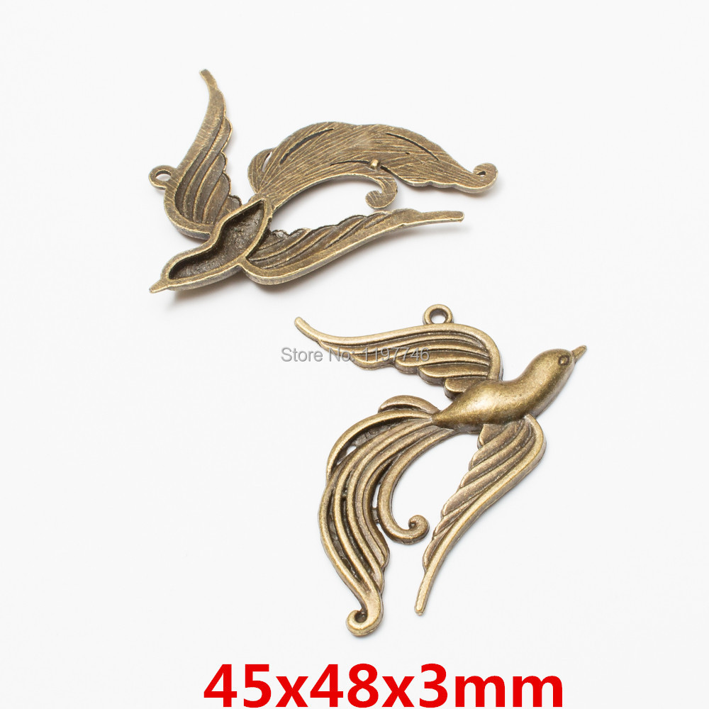 Wholesale Vintage Bronze Alloy Animal Peacock Pendants Charms Finding 100pcs