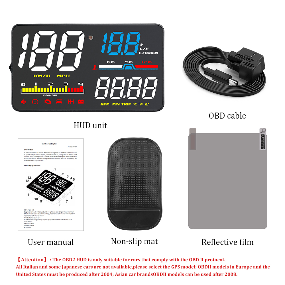 5 Screen OBD2 Car HUD Head Up Display colored large display screen 29 kinds of interfaces manual and auto turn off control