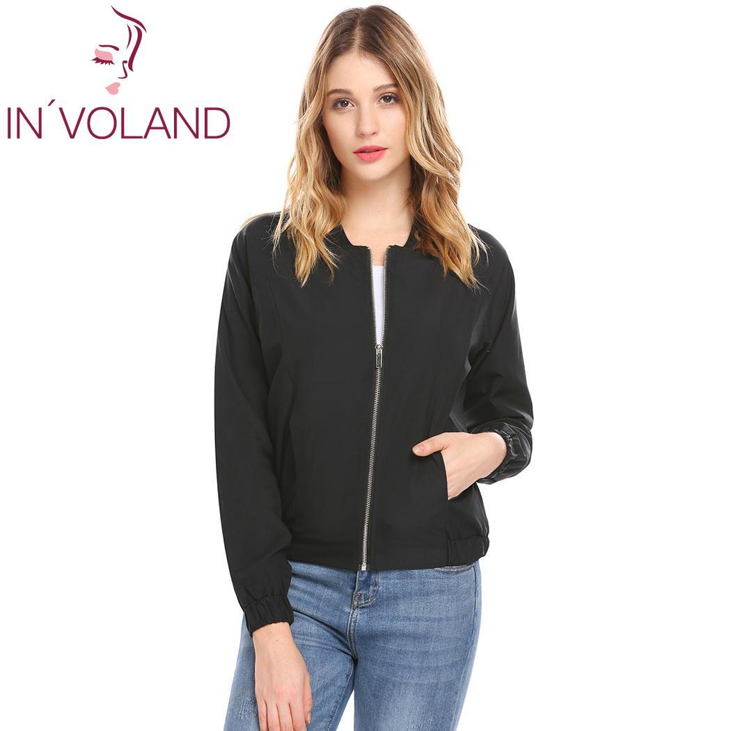 Women Casual Thread Stand Collar Elastic Cuffs and Hem Long Sleeve Pocket Zipper   Basic     Jacket   Hem, Outwear