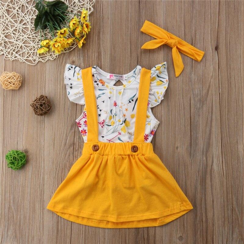8f35b934b Emmababy niño niñas ropa de bebé Floral Tops + falda cinturón de vestido 3  piezas trajes ...