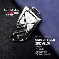 12*5cm Car Styling Zinc alloy+Carbon Fiber Key Case Cover For BMW 1 2 5 6 7 Series Remote Control Car Accessories