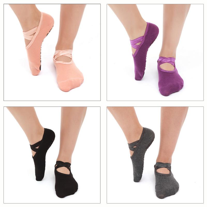 Cotton Yoga Socks Non Slip Sweat Absorption Breathable Cross Instep Exposure Round Professional Sports Yoga Socks Ballet Socks