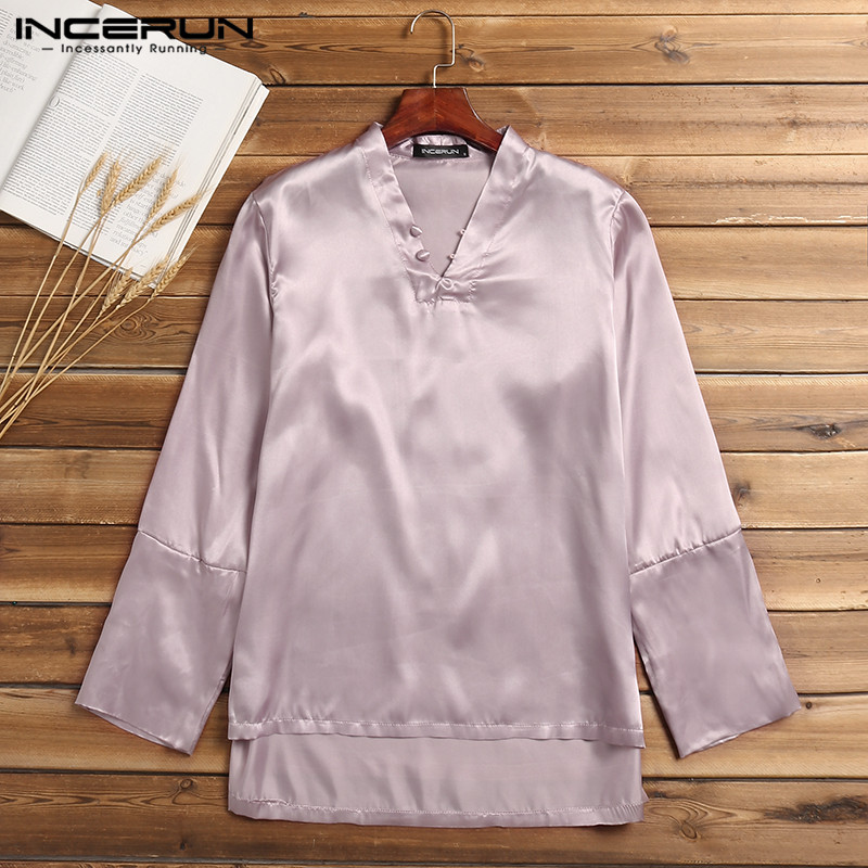 Fashion Mens Pajama Tee Long Sleeve Pullovers Satin Silk Man Tops Sleepwear Homewear Pyajama Loose Soft Big Size 5XL Hombre