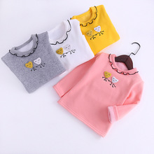 Girls T-shirt wooden ear collar long-sleeved embroidered plus velvet bottoming shirt autumn winter cotton childrens clothing