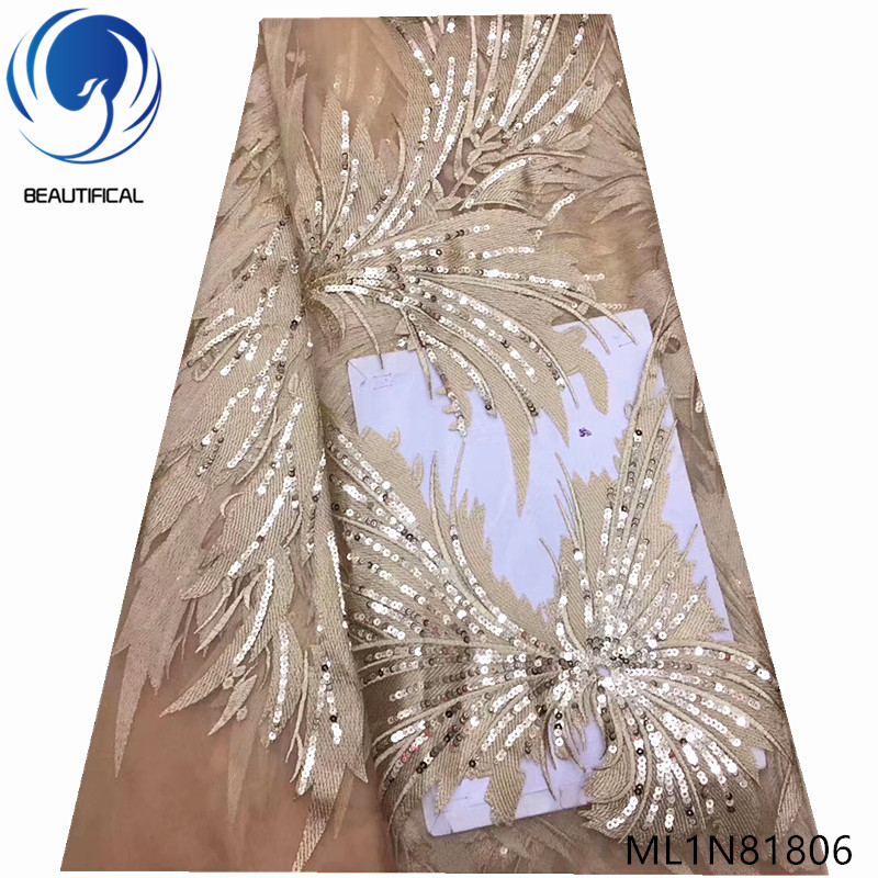 BEAUTIFICAL african lace fabric 5 yards gold sequins tulle embroidery net lace nigerian wedding lace ML1N818BEAUTIFICAL african lace fabric 5 yards gold sequins tulle embroidery net lace nigerian wedding lace ML1N818