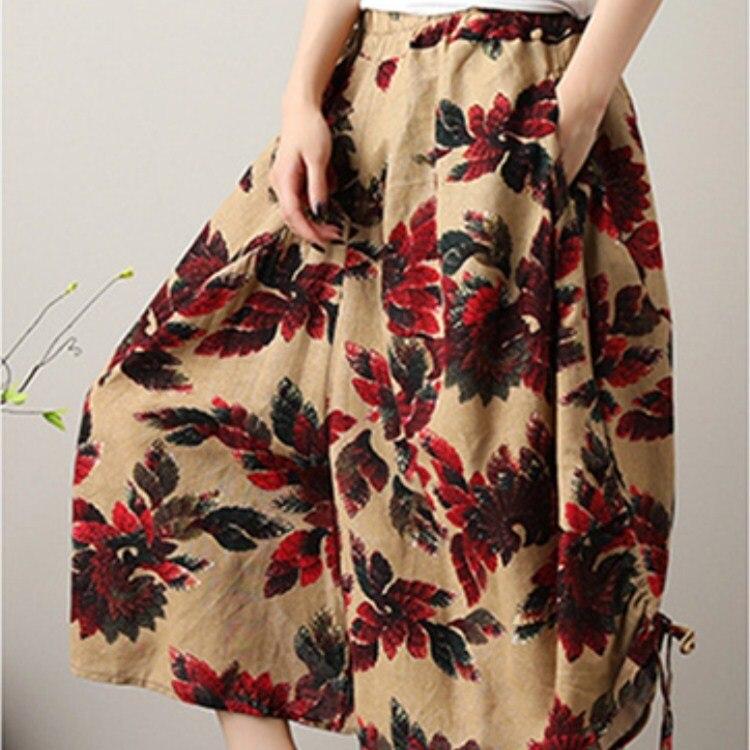 Women Cotton Linen Harem   Pants   Vintage Floral Print Calf-Length   Pants   Pockets Spring Autumn Thin Loose Trousers
