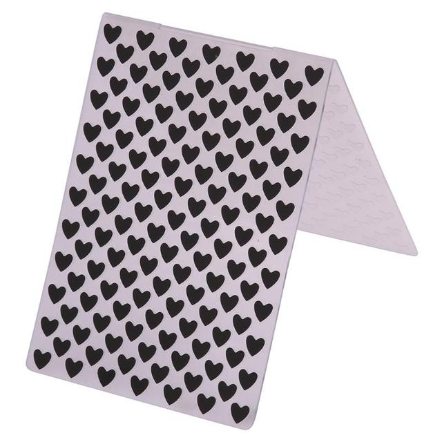 Mini Heart Pattern Plastic Embossing Folder Clear Stamps for DIY Scrapbooking Photo Album Cards Making Embossing Dies Craft