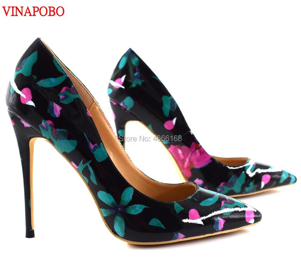 Vinapobo New Fashion Floral Print Patent Leather Women Pumps Extreme High Heels Stiletto Pointed Toe Slip
