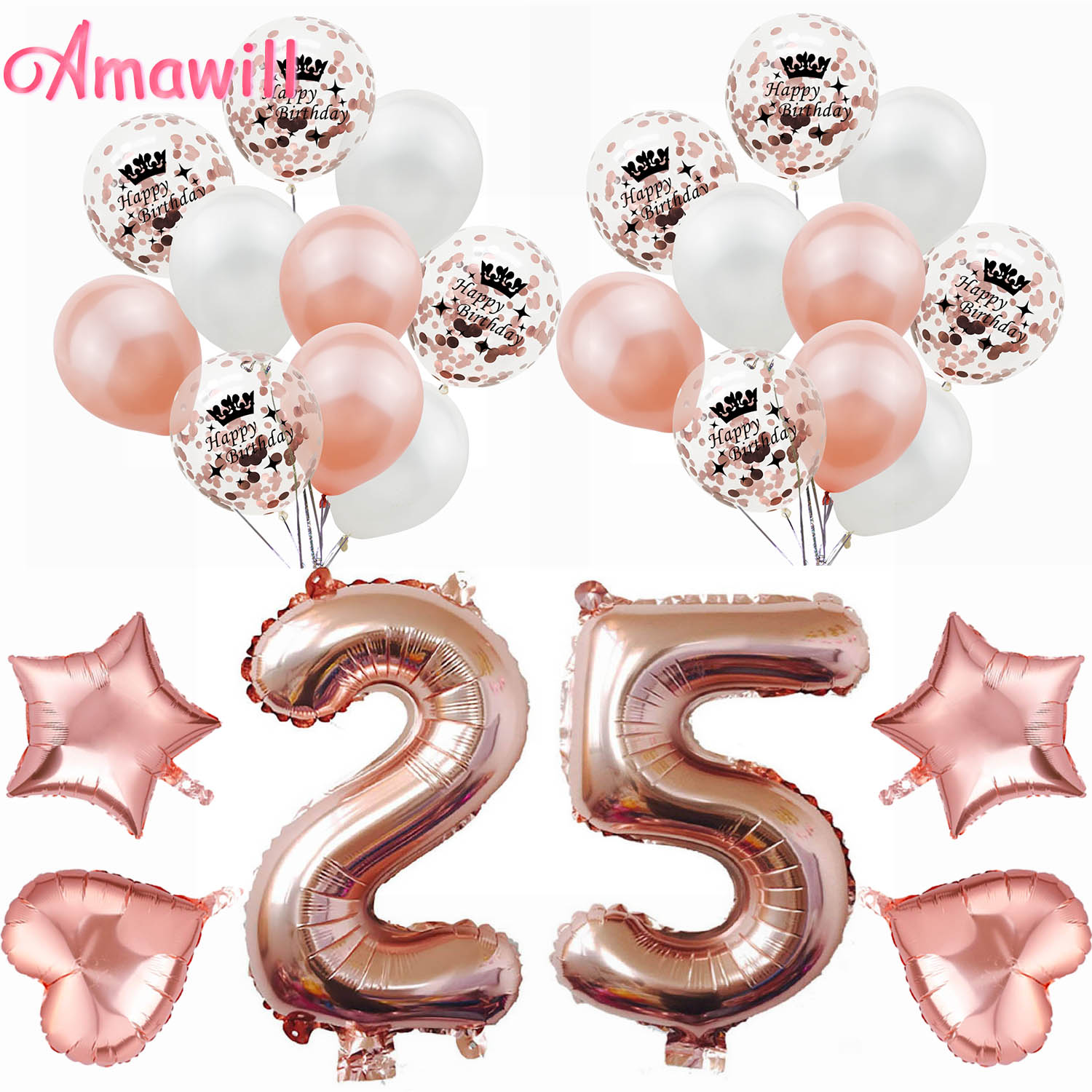Amawill 32 Inch Happy 25 Birthday Foil Balloons Rose Gold Number 25th Years Old Party Decorations Man Boy Girl Supplies 65D
