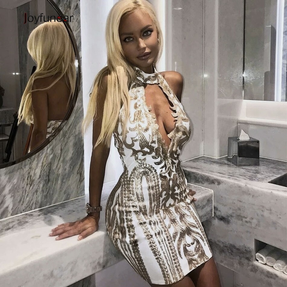 Feditch Sequin Dress Mini Women Elegant Sleeveless Bodycon Dress Party Sexy  Club Wear Ladies Vestido Summer Dresses Casual 6a5e572ad49e