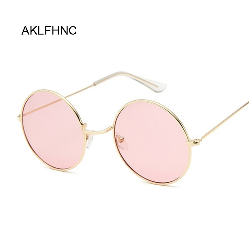 Pink Sunglasses Mirror Oculos-De-Sol Round Female Retro Black Designer Women Alloy
