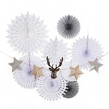 Pack Of 9pcs Christmas Decorations For Home With Garlands Snowflack Paper Fans Merry Xmas