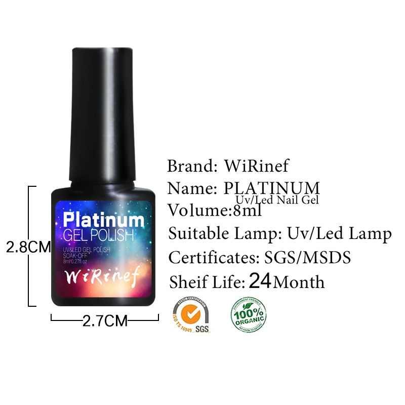WiRinef 8 ml 3D Brilho Platina Semi-Permanente de Gel Unha Polonês Soak Off Prego Uv Led Colorido Super Brilhante laca Gel