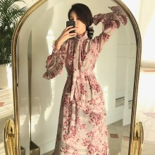 2019 Spring New Women Flower Print Dress Vintage Floral Sashes Ruffled Pleated