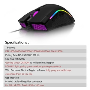 Image 5 - Delux M625 PMW3360 Sensor Gaming Mouse 12000DPI 7 Programmable Buttons RGB Backlight Wired Mice with Fire Key For FPS Gamer