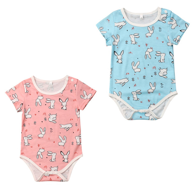 d452a9855 Easter Bunny Newborn Kid Baby Girl Boy Romper Jumpsuit Short Sleeve ...