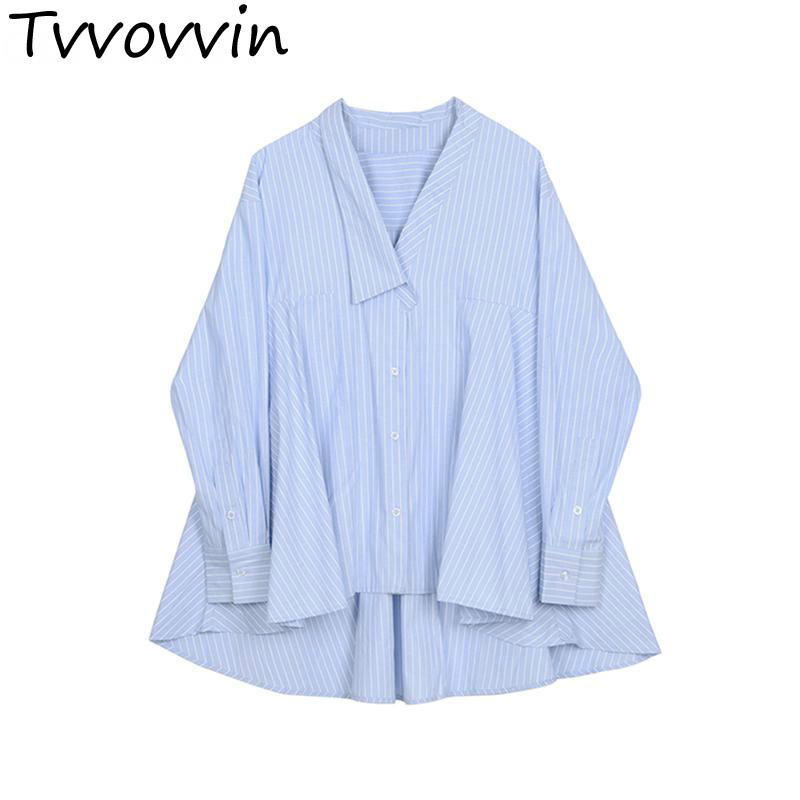 c3f77ca499982 Suelta Las Cuello Casual En Mujer 2019 Larga Con De Asimetría Mujeres  Irregular V Tops Blue Camisa Moda Blusas ...
