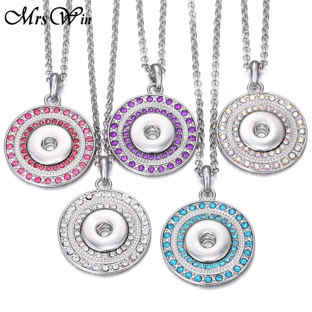 New Snap Button Jewelry Necklaces High Quality Full Crystal Round Snap Pendant Necklace for Women Fit 18mm Snap Buttons Jewelry snap button jewelry