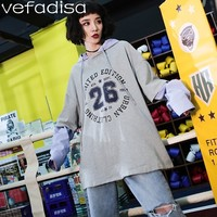 Vefadisa Fake Two Pieces Hooded T Shirt Women Letter Printing T Shirt White Loose BF Long Sleeve T Shirt Harajuku Shirt ZLD701