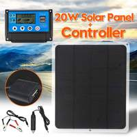 20W 12V / 5V Dual Output Solar Panel +10/20/30/40/50A USB Solar Charger Controller Kit for Phone Lighting Outdoor Travel Camping