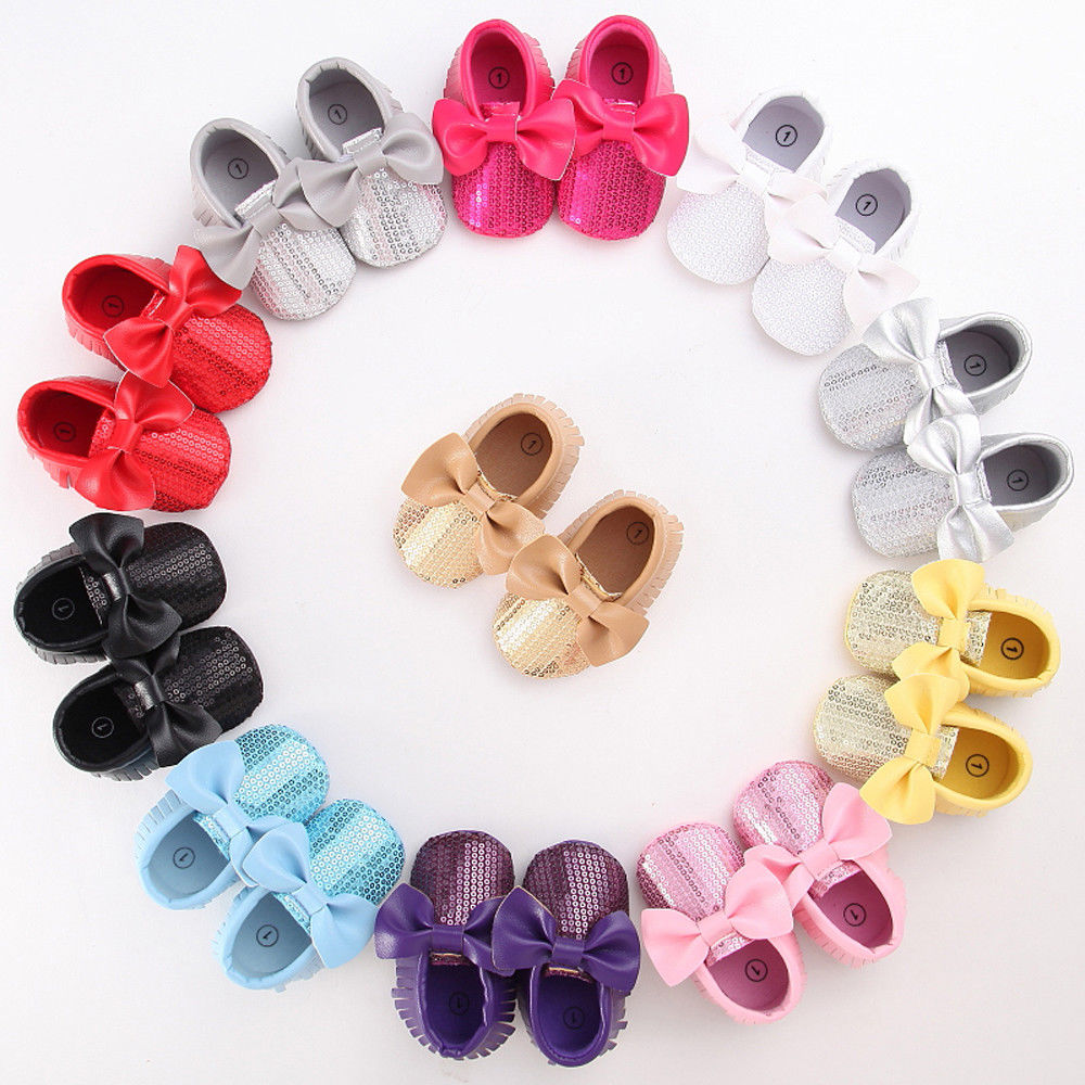 2018 Latest Children's Wear Newborn Toddler Baby Girl Bow Anti-slip Leather Christening Pram Shoes Soft Sole Sneaker 0-18M