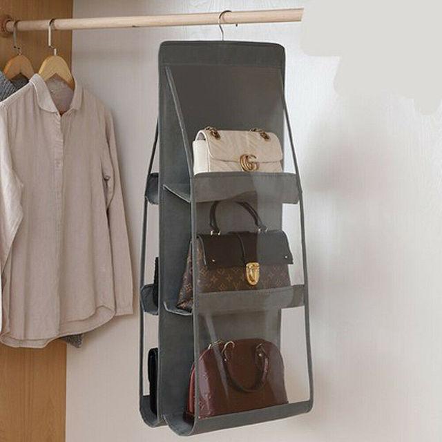 6 Pocket Foldable Hanging Bag 3 Layers Purse Handbag Organizer Folding Shelf Door 1