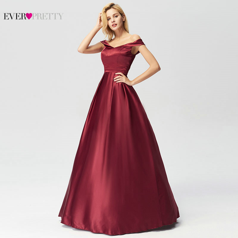 Evening Dresses Long 2019 Ever Pretty Elegant A line Burgundy Off Shoulder Sleeveless New Arrival Special Wedding Occasion Gowns-in Evening Dresses from Weddings & Events