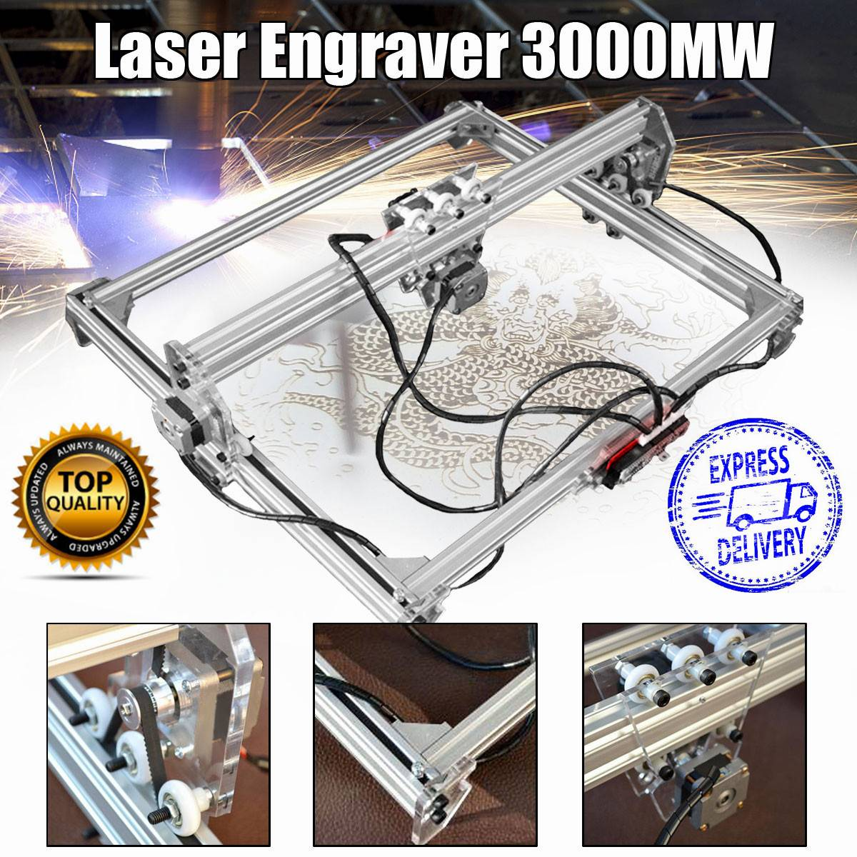 15 W/3000 mw 50*65 cm CNC Gravador Do Laser Máquina de Gravura Em Metal/Madeira Router/ DIY Cortador 2 Axis Gravador Área De Trabalho do Cortador A Laser +