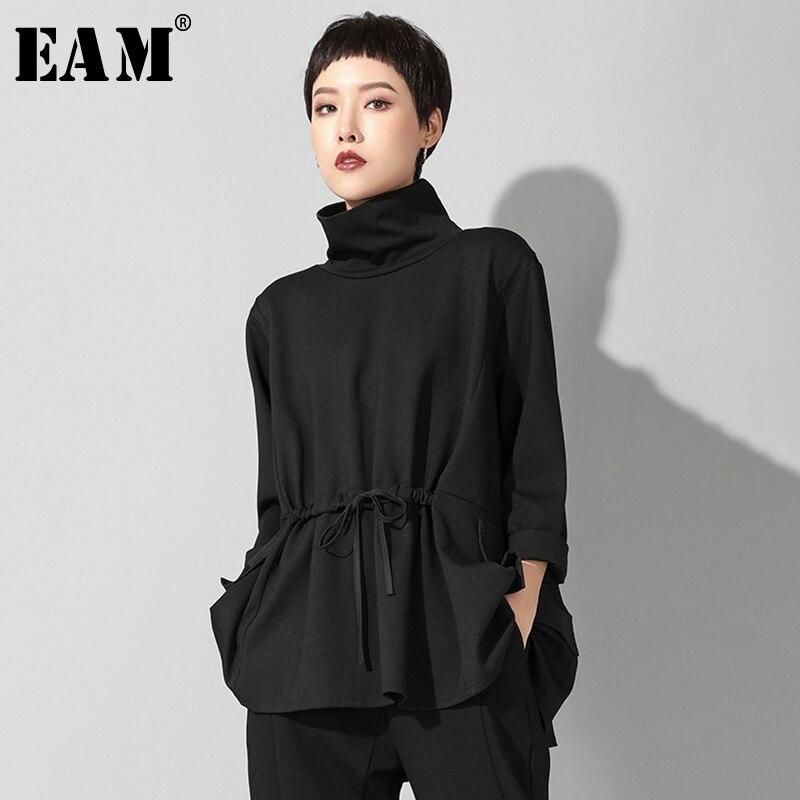[EAM] 2019 nuevo Otoño Invierno cuello alto manga larga negro suelto bolsillo cordón talla grande camiseta mujer moda marea JQ017